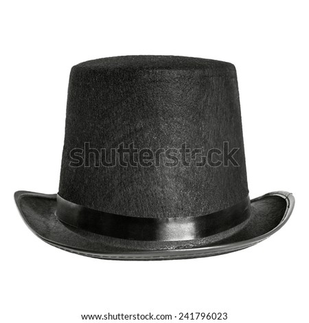 black felt hat isolated on white background. front view - stock photo