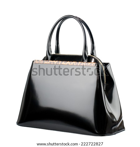 Black female bag isolated on white background. - stock photo