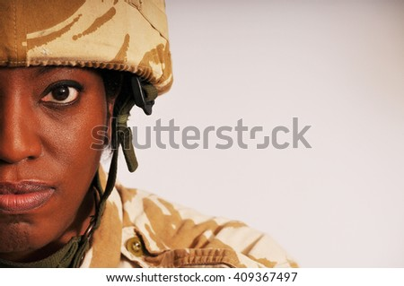 Black Female British soldier - stock photo