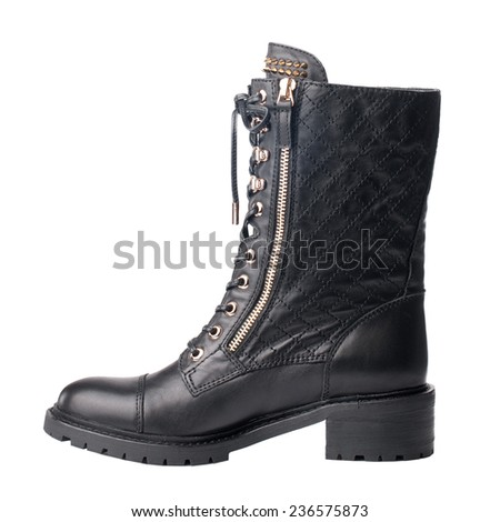 Black female high boot isolated on white background. - stock photo