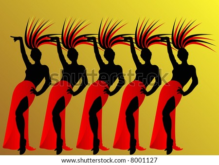 black female silhouettes of dancers with red skirts in Las Vegas - stock photo