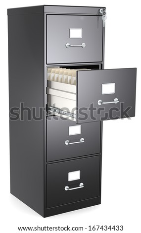 Black File Cabinet. Open drawer with files. Lock and key. - stock photo