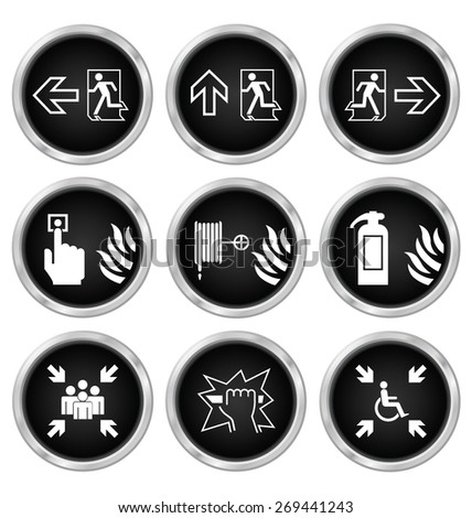 Black fire escape related icon set isolated on white background - stock photo