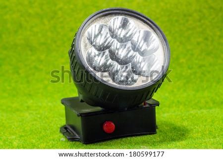 Black flashlight - stock photo