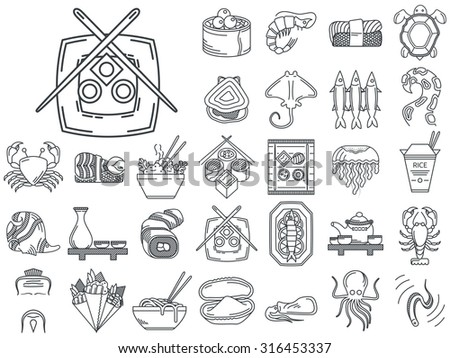 Black flat line icons set of japanese seafood and traditional serving for restaurant menu on white background. - stock photo