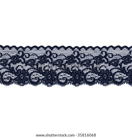 Black floral lace band isolated over a white background - stock photo