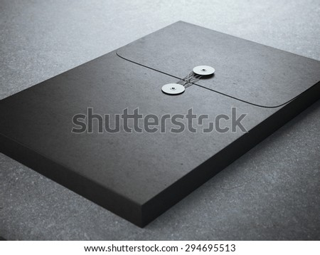 Black folder with paper texture - stock photo