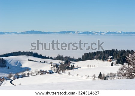 Black Forest and Vosges in the winter - stock photo