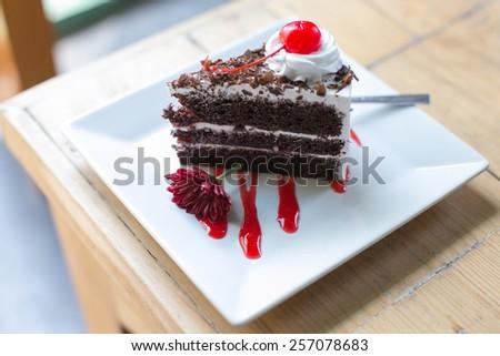 Black forest cake. - stock photo