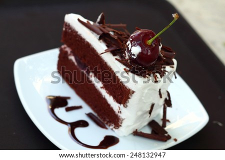 Black Forest Cake on the table - stock photo