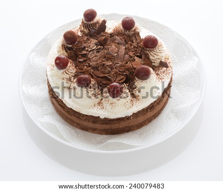 Black Forest cake (Traditional French receipt)  - stock photo