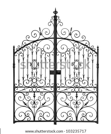 Black forged gate with decorative lattice isolated on white background - stock photo