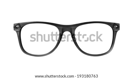 black frame glasses isolated on white background - stock photo