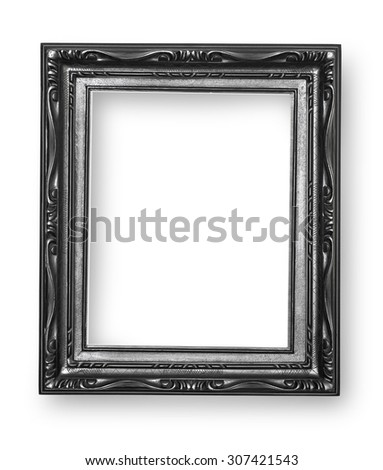 black frame isolated on white background with clipping path - stock photo