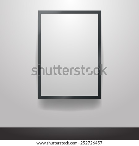 Black frame on a white wall vector background design for your content - stock photo