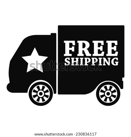 Black free shipping icon, tag, label, badge, sign, sticker isolated on white  - stock photo