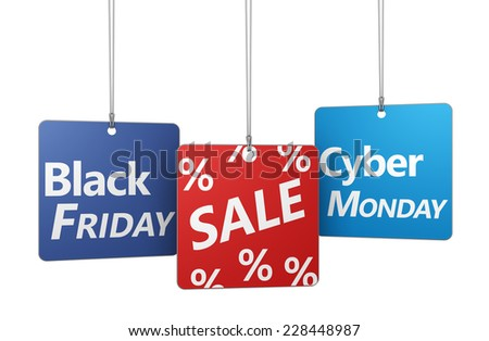 Black Friday and cyber Monday shopping sale concept with sign and percent symbol on hanged tags isolated on white background. - stock photo