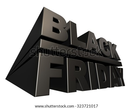 Black friday 3D banner template isolated on white background. - stock photo