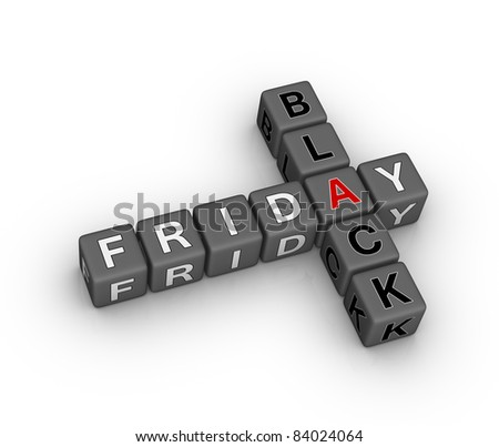 black friday 3d crossword puzzle (design element for Christmas sales) - stock photo
