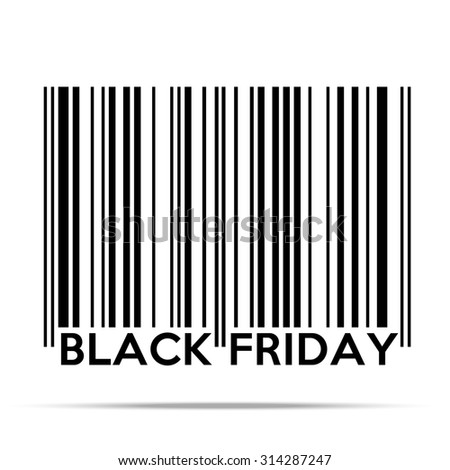 Black Friday sales tag in barcode style. Shopping Illustration isolated on white background. - stock photo