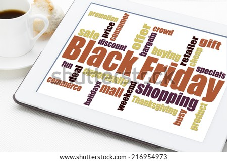 Black Friday word cloud - holiday shopping concept on a digital tablet - stock photo