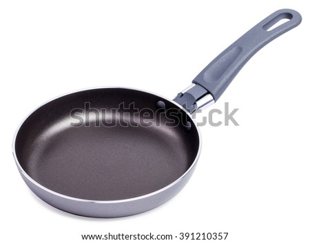 Black frying pan isolated on white background. Side view - stock photo