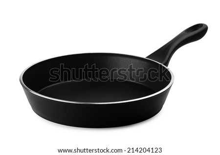 Black frying pan on a white background - stock photo
