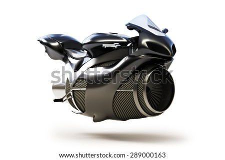 Black futuristic turbine jet bike concept isolated on a white background. - stock photo
