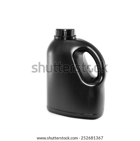 Black gallon with empty label on white background - stock photo