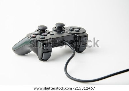black game controller isolated on white background - stock photo