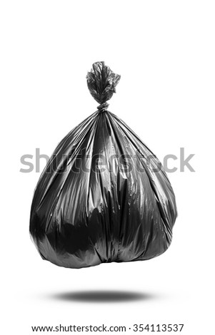 black garbage bag on white background with clipping path