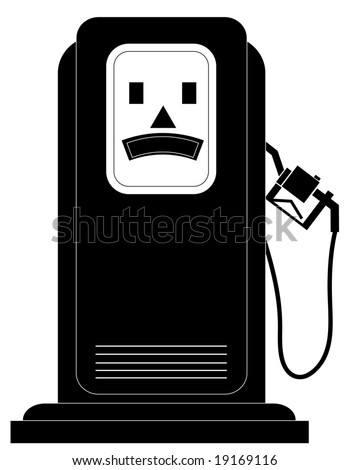 black gas or fuel pump with an unhappy face - illustration - stock photo