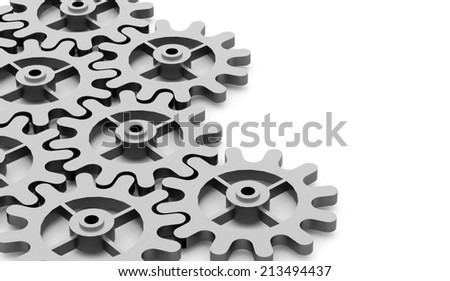 Black gears mechanism concept rendered  - stock photo
