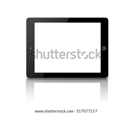 Black generic tablet computer (tablet pc) on white background. Modern portable touch pad device with white screen - stock photo