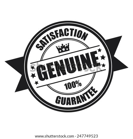 Black Genuine Satisfaction Guarantee 100% Icon, Badge, Sticker, Tag or Label Isolated on White Background - stock photo