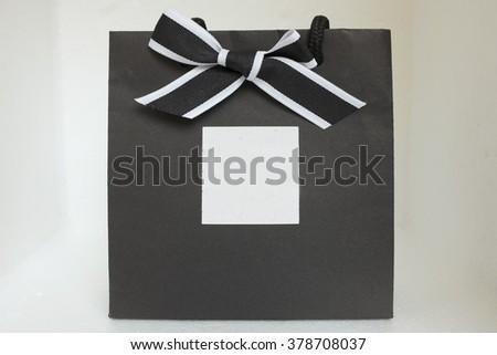 black gift bag - stock photo