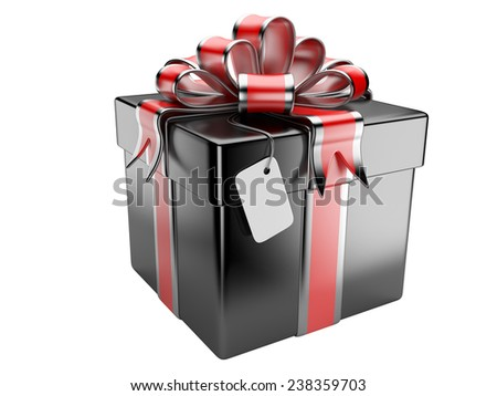 Black gift box with blank gift tag isolated on a white background - stock photo