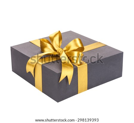 Black gift box with gold bow. - stock photo