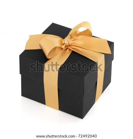 Black gift box with gold satin ribbon bow, over white background. - stock photo