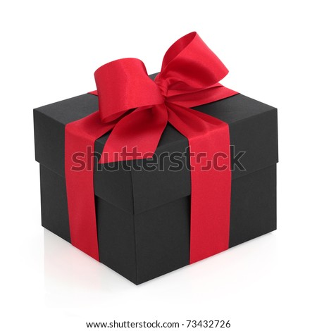 Black gift box with red satin ribbon and bow, over white background. - stock photo
