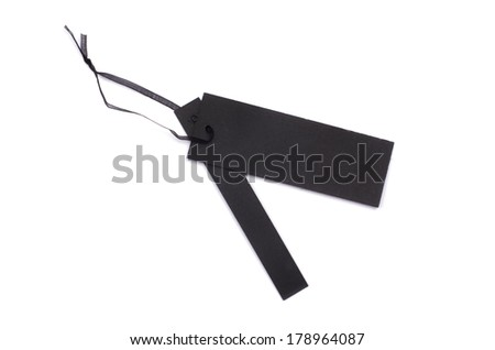 black gift tag tied with a string - stock photo