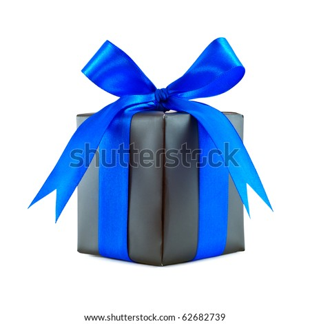 Black gift wrapped present with blue satin ribbon bow isolated on white - stock photo