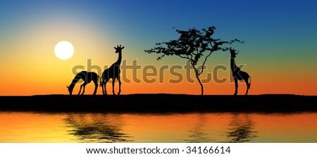 Black giraffe silhouettes by a river. - stock photo