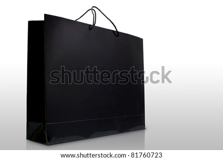 Black glaze paper shopping bag, Isolated, Shopping concept - stock photo