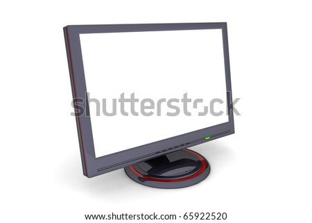 black glossy flat screen lcd computer monitor with a white desktop, green status led and red decoration - angular view - stock photo