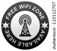 Black Glossy Free Wifi Zone Available Here Isolated on White Background - stock photo