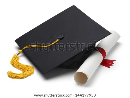 Black Graduation Cap with Degree Isolated on White Background. - stock photo