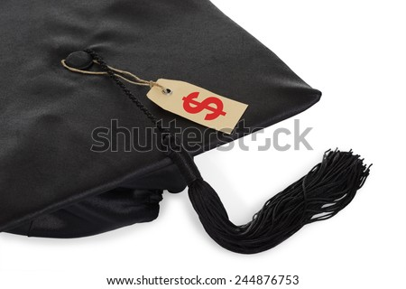 Black Graduation Cap With Tassel And Price Tag Isolated Over White Background - stock photo