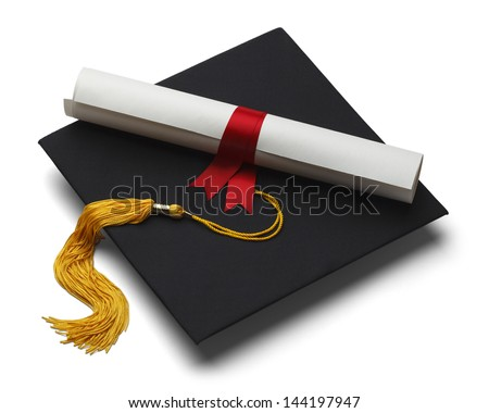 Black Graduation Hat with Degree Isolated on White Background. - stock photo