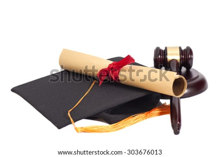 Black Graduation Hat with Diploma and Gavel Isolated on White Background - stock photo